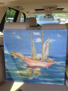 pink sailboat painting