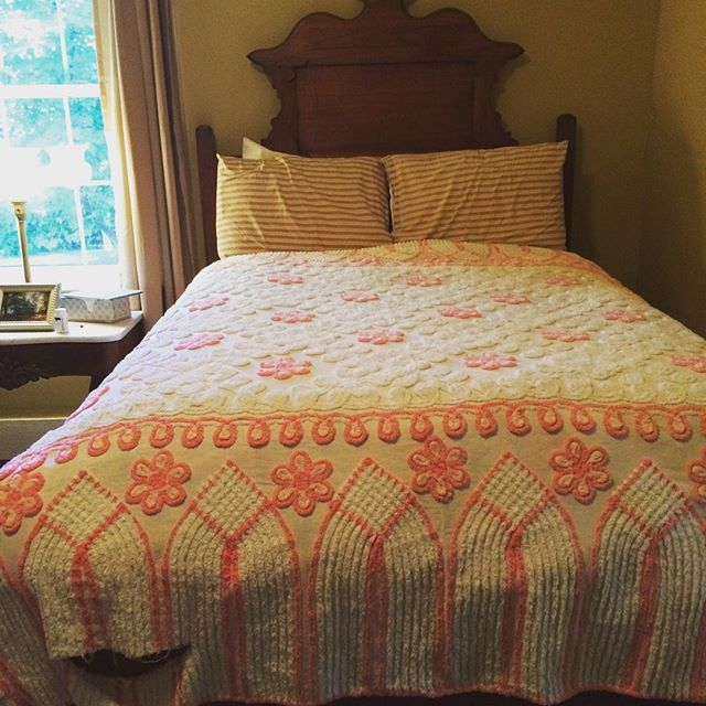 This Sweet Pink And White Chenille Bedspread Has Some Age Issues But Don T We All Vintage Mary Kay Andrews
